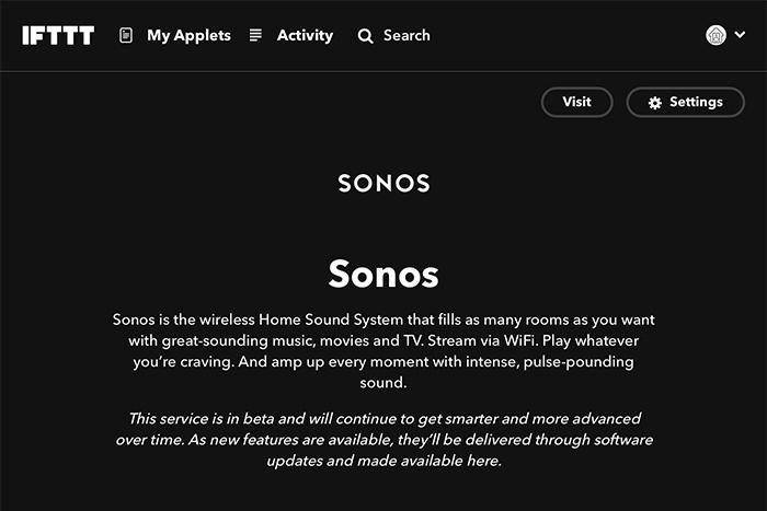 Sonos est compatible IFTTT
